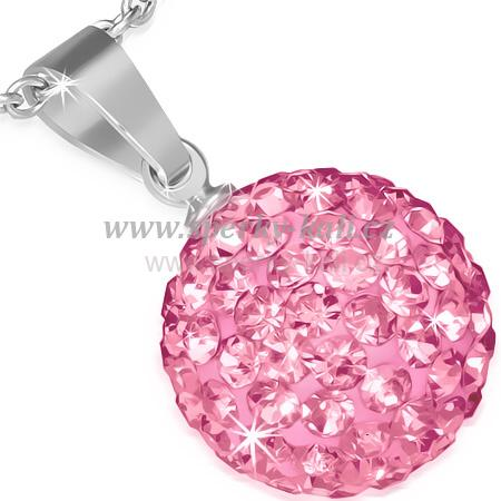 a75800a49 přívěsek chirurgická ocel,růžová koule 81   Šperky, naušnice ...